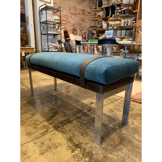 This original Chrome and Leather bench with a custom made Mohair top cushion, is an original DL Rhein design. The chrome...