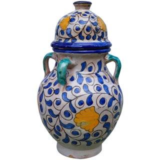 Blue & Orange Moroccan Vase For Sale