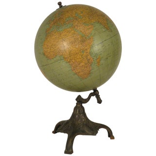 Rand McNally Twelve Inch Terrestrial Globe on Bronze Base For Sale