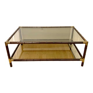 1960s Mid Century Faux Bamboo Framed Two Level Smoke Glass Coffee Table For Sale