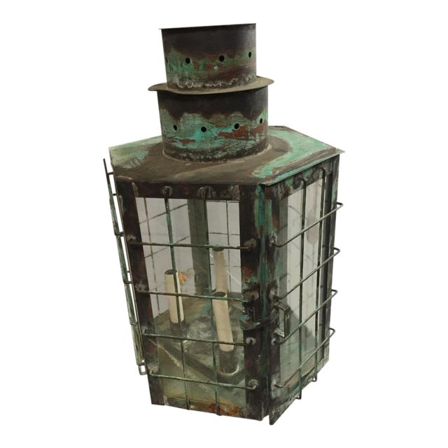 Vintage Large Maritime Style Copper Lamp For Sale