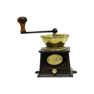 Antique English Cast Iron Coffee Grinder For Sale