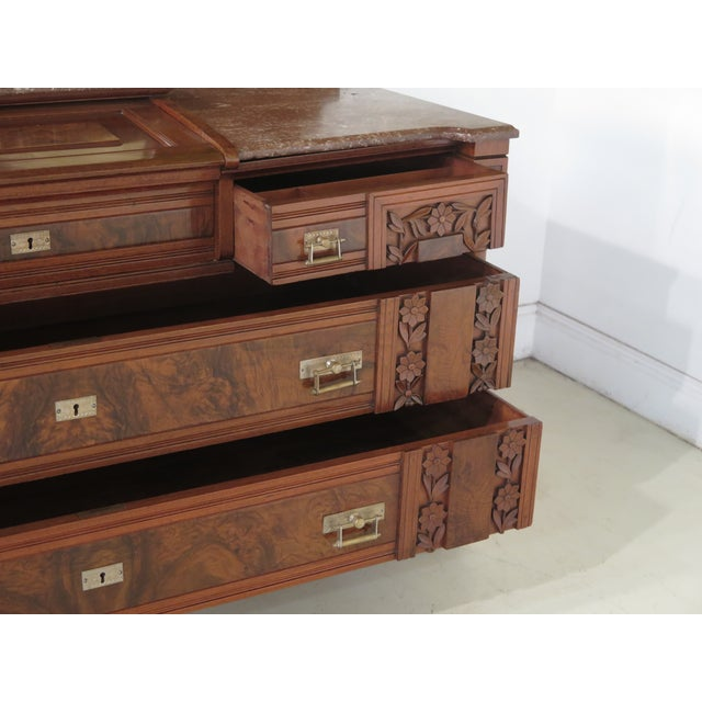 Herter Brothers Aesthetic Victorian Inlaid Walnut Queen Bedroom Set - A Pair - Image 9 of 11
