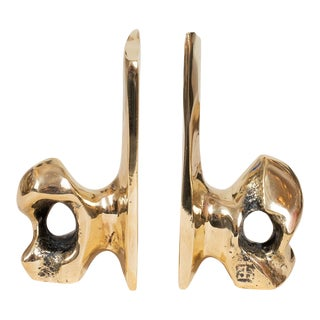 David Marshall Sculptural Bronze Bookends - a Pair For Sale