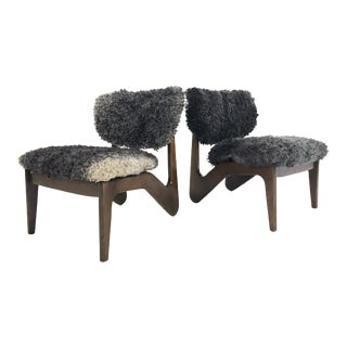 Adrian Pearsall Style Sculptural Chairs Restored in Gotland Sheepskin - Pair