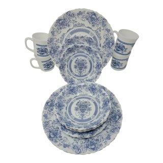 Vintage Arcopal Honorine Made in France Blue and White Milk Glass Dinnerware Set of 15 For Sale
