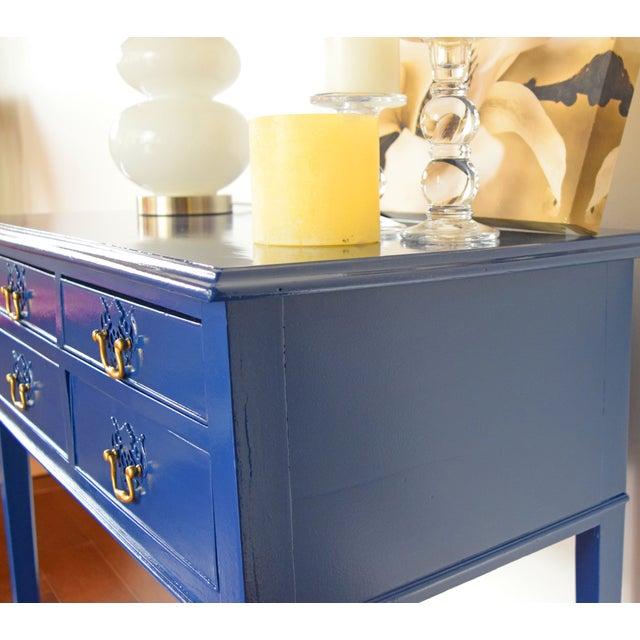 Blue Entryway Console Table For Sale - Image 4 of 9