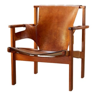 "1950s Carl Axel Acking ""Trienna"" Chair in Patinated Brown Leather For Sale"