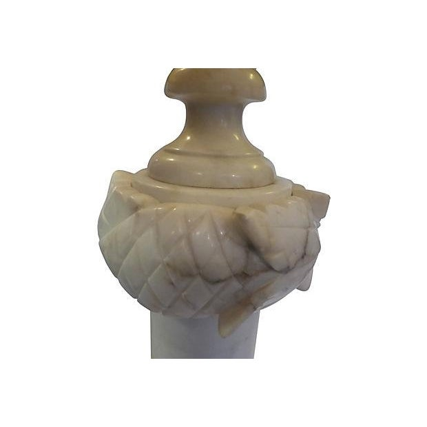 Neoclassical Carved Alabaster Table Lamp For Sale - Image 3 of 6