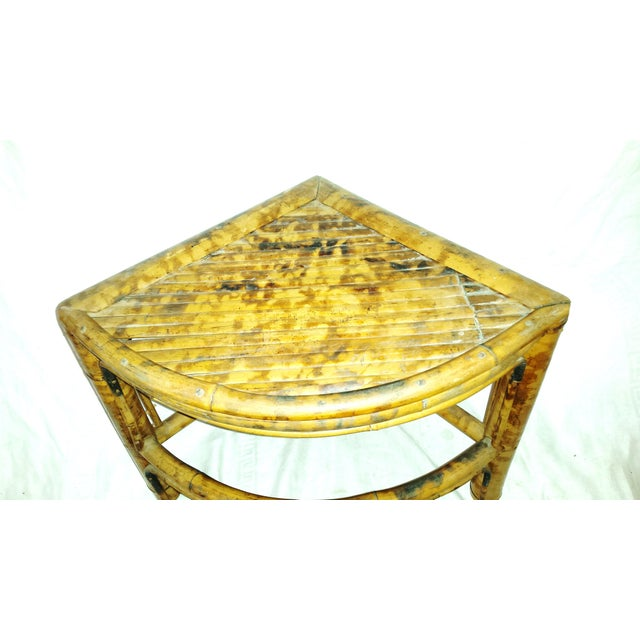 Vintage Scorched Bamboo Corner Shelf For Sale - Image 4 of 8