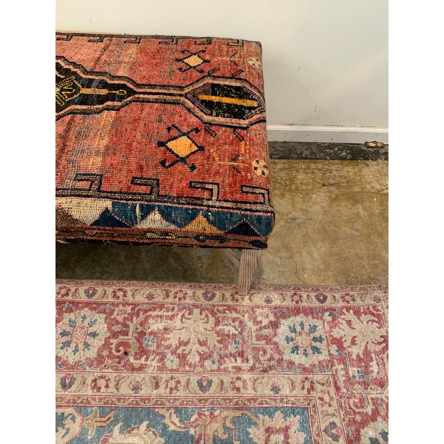 Vintage Persian Rug Ottoman Table For Sale In Los Angeles - Image 6 of 11