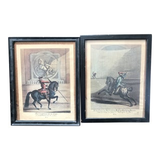 Mid 18th Century Hand Colored Lithographs of Equestrian Training - a Pair For Sale
