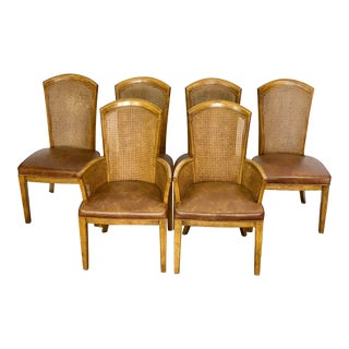 Vintage Campaign Style Birdseye Caned Dining Chairs With Leather Upholstery - Set of 6 For Sale