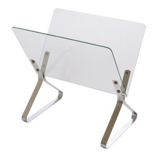 Milo Baughman Glass and Chrome Magazine Rack For Sale