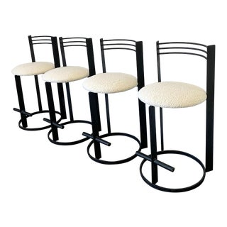 Postmodern Memphis Milano Style Bar Stools, Set of 4 in Heavy Boucle For Sale