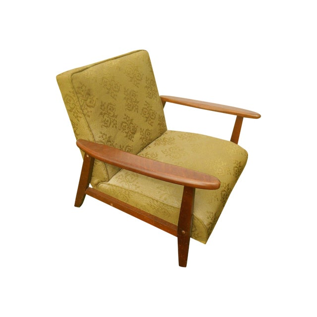 Danish Modern Olive Green Lounge Chair - Image 1 of 6