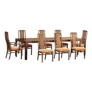 1960s Double-Leaf Dining Table With Eight Chairs by Drexel For Sale