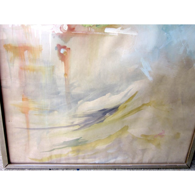 Abstract Vintage Mid-Century Abstract Soft Pastel on Paper Signed & Framed Painting For Sale - Image 3 of 10