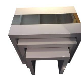 Jonathan Adler White Lacquer Nesting Tables - Set of 3