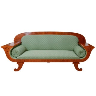 Mahogany, Golden Birch and Ash Adorned, Classic Biedermeier Settee For Sale