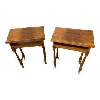 Vintage Traditional Solid Wood Rolling Podium Lecterns - a Pair For Sale