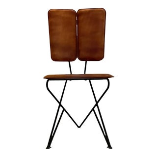 Modern Pablo Romo for Ambianic Pablex Iron & Leather Tripod Chair For Sale