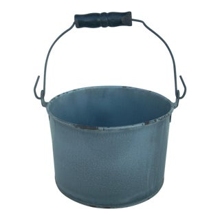 Vintage Gray Graniteware Pail For Sale