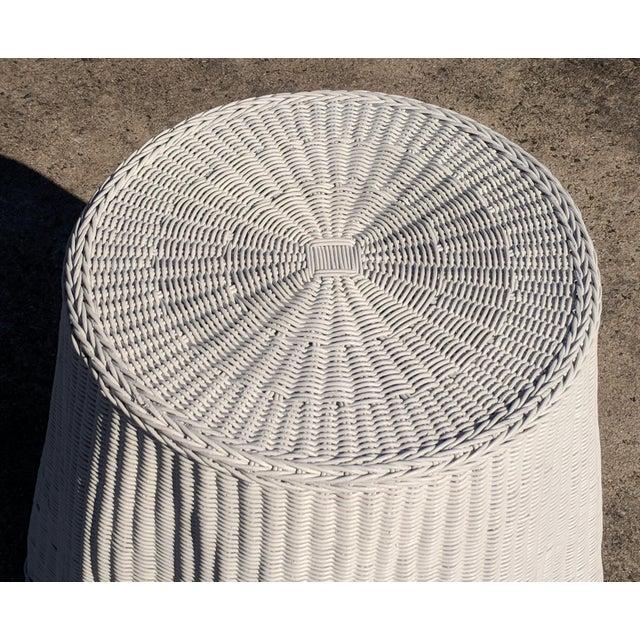 1970s Trompe l'Oeil Draped White Wicker Rattan Ghost Table For Sale - Image 5 of 10