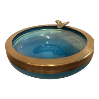 Vintage Murano Opaline Ashtray With Brass Trim
