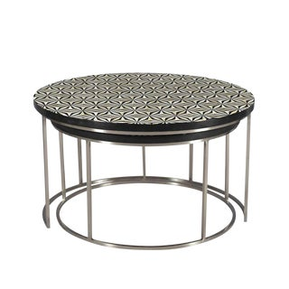 Nickel & Bone Inlay Nesting Tables For Sale