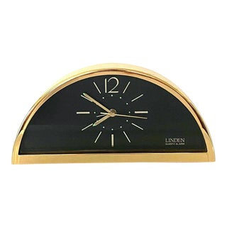 Vintage MCM Linden Gold Tone Tabletop Analog Clock For Sale