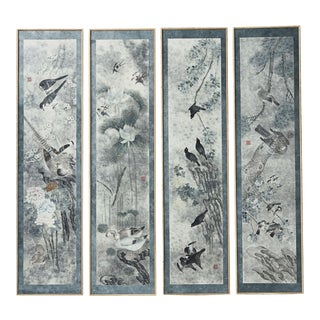 """Lawrence & Scott """"Four Seasons'' With Blue Border Screen Set For Sale"""