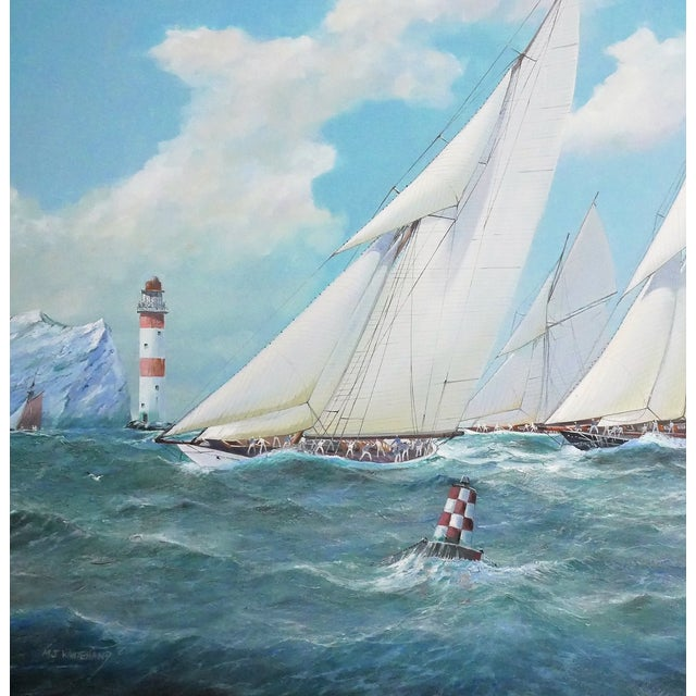Figurative Nautical Yacht Racing Oil on Canvas, M Whitehand For Sale - Image 3 of 9