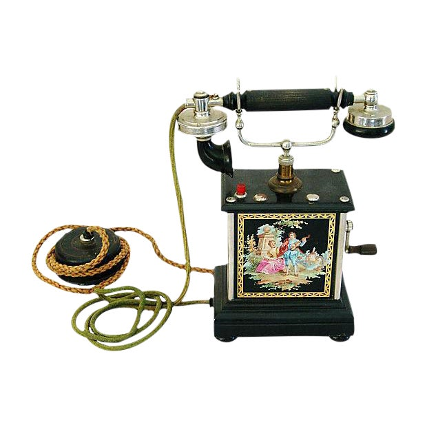 Antique French Hand-Painted Crank Handled Telephone - Image 1 of 10