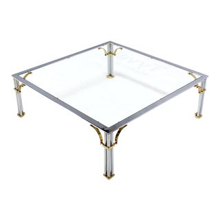 Mid-Century Modern Brass Chrome and Glass Coffee Table For Sale
