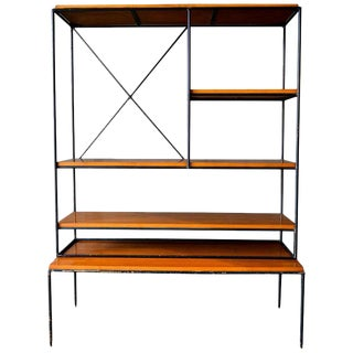 1950s Mid-Century Modern Paul McCobb Planner Group Iron and Maple Shelving Unit For Sale