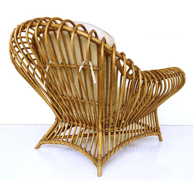 Mid-Century Modern Franco Albini Rattan Chair and Ottoman Set, 1980s For Sale - Image 3 of 8