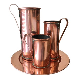 Danish Mid-Century Polished Copper Tankard & Charger - Set of 4 For Sale