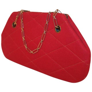 Mod 1960's Red Wool Quilted Handbag With Chain Handle For Sale