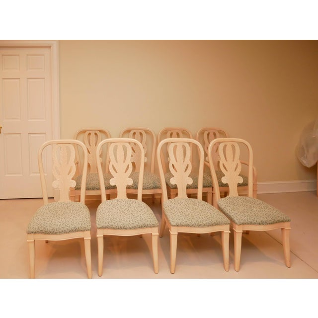 """Champagne 20th Century Bernhardt """"Palm Court"""" Dining Table & 8 Chairs - 9 Pieces For Sale - Image 8 of 9"""