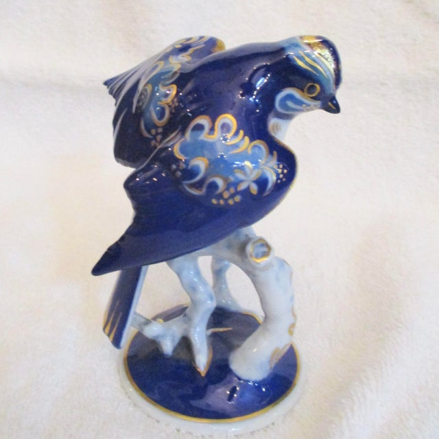 Rosenthal porcelain bird from the 1960s'.Sweet and bright handpainted cobalt blue and white with gilt decorations. The...