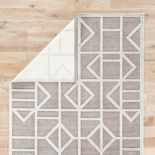 Contemporary Jaipur Living Cannon Geometric Gray/ White Area Rug - 7′6″ × 9′6″ For Sale - Image 3 of 6