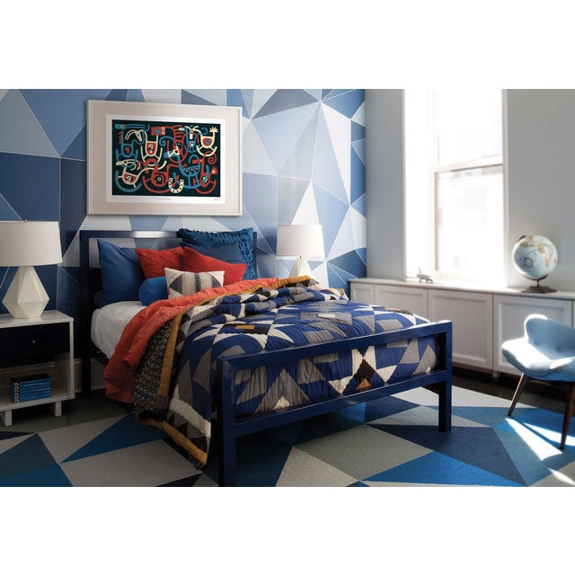 2010s Cole and Son Geometric Facet Wallpaper in Blue For Sale - Image 5 of 6