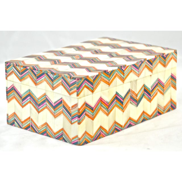 Blue Inlaid Bone Chevron Box For Sale - Image 8 of 8
