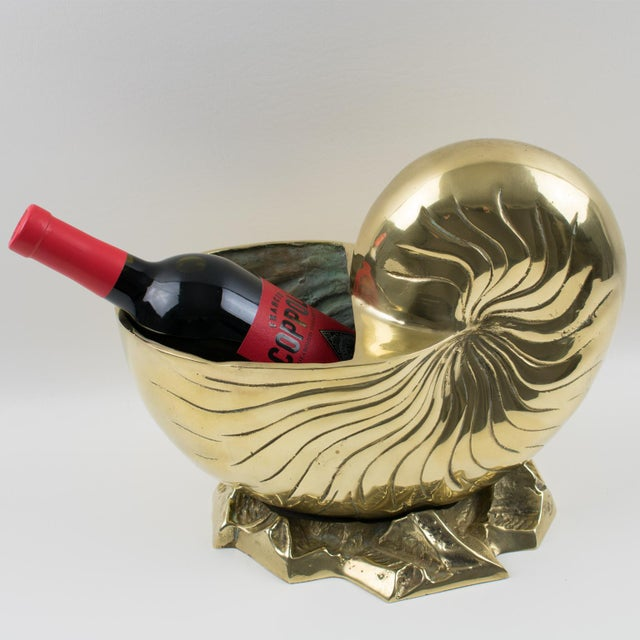 Stylish modernist polished brass wine cooler or vase or even planter. This ultra chic bottle holder or champagne ice...
