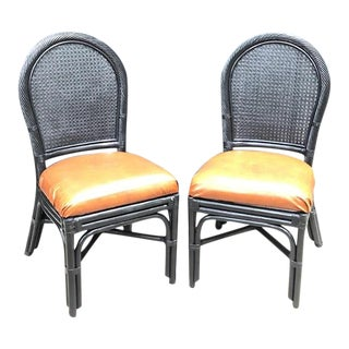 1970s Black Rattan Cane-Back Side Chairs - a Pair For Sale