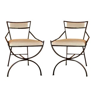 Pair of Mid Century Iron Chairs For Sale