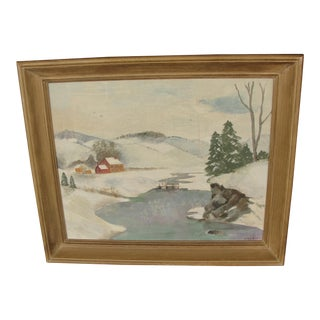 Vintage Impressionist Oil on Board Painting of Farm in Winter