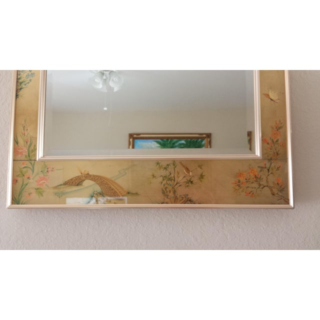 Gold Labarge Chinoiserie Eglomise Reverse Painted Gold Leaf Mirror For Sale - Image 8 of 11