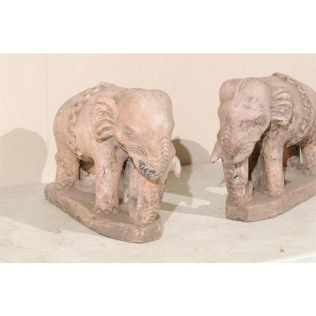 Mid 20th Century Pair of Eclectic 20th Century British Colonial Terracotta Elephants in Pale Pink For Sale - Image 5 of 9